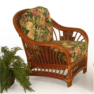 Palm Springs Rattan Bali  Upholstered Wicker Chair