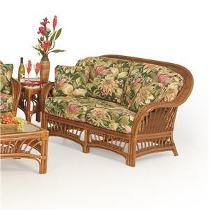 Palm Springs Rattan Bali  Wicker Upholstered Love Seat