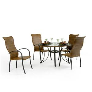Palm Springs Rattan Empire 5 Pc. High Back Dining Set