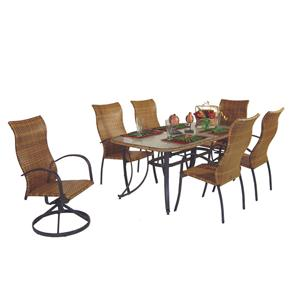 Palm Springs Rattan Empire 7 Pc. High Back Dining Set