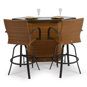 Palm Springs Rattan Empire 3 Pc. Outdoor Bar Set