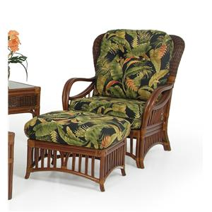 Palm Springs Rattan Islamorada Chair and Ottoman