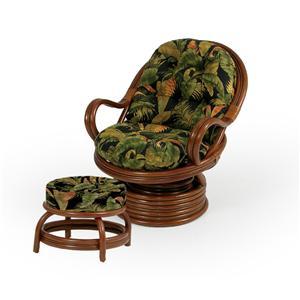 Palm Springs Rattan Islamorada Chair and Ottoman
