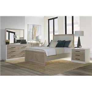 QUEEN Upholstered PANEL BEDROOM, Double Dresser, Wood Mirror, 3 Drawer Nightstand