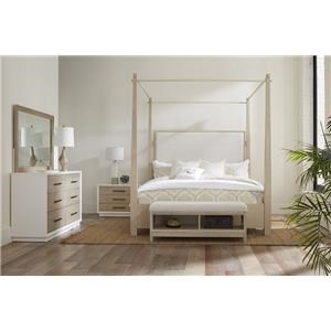 KING Upholstered Canopy Bed, Double Dresser, Wood Mirror, 3 Drawer Nightstand
