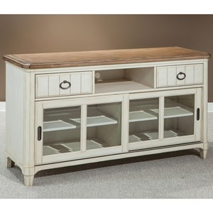 Entertainment Console with Sliding Glass Doors