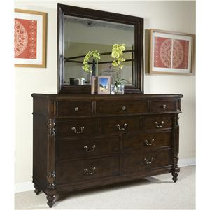 Panama Jack by Palmetto Home Old Havana 10-Drawer Dresser & Landscape Mirror Set