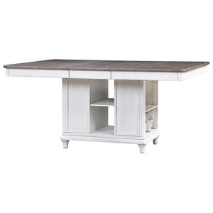 Farmhouse Counter Height Table with Wine Bottle Storage