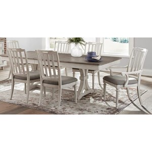 Farmhouse 7-Piece Table and Chair Set with Table Leaf
