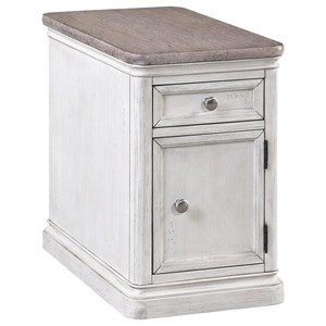 Farmhouse Chairside Table with Drawer and Door