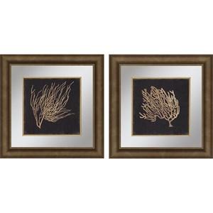 Set of 2 Gold Coral II Framed Art