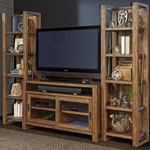 """55"""" TV Console and Bookcase Piers with Sliding Doors"""