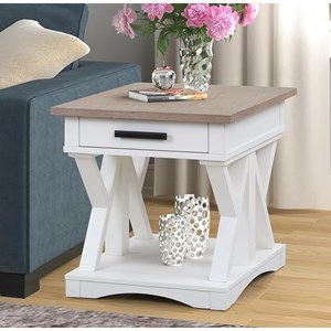 Farmhouse Style 1-Drawer End Table
