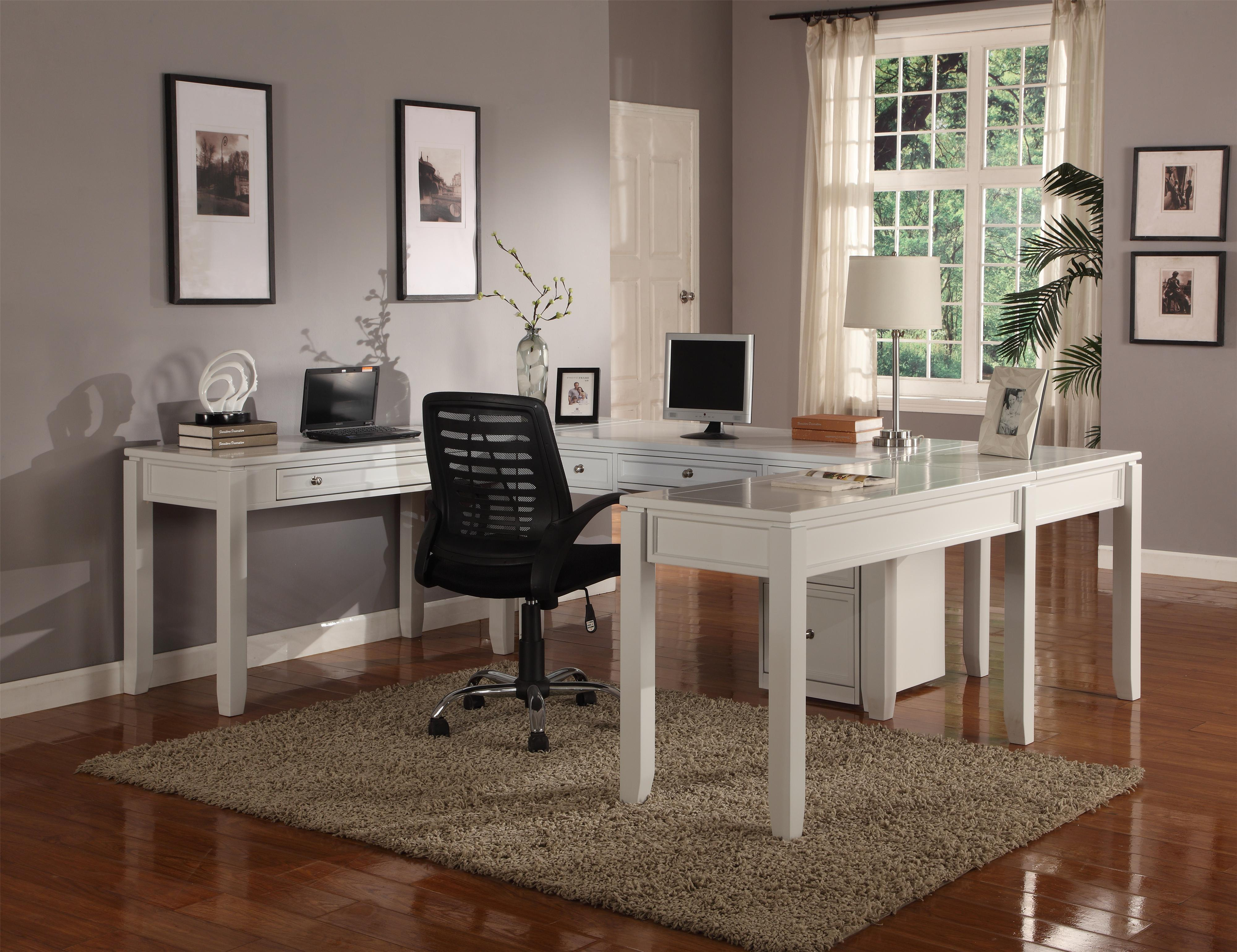 Boca Five-Piece U-Shaped Desk with 5 Drawers  by Parker House at Zak's Home