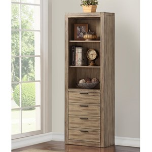 Contemporary Bookcase with Discrete Door and 3 Shelves