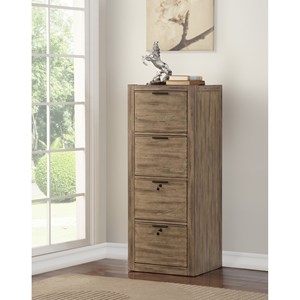 Contemporary Tall File Cabinet with 2 Locking Drawers