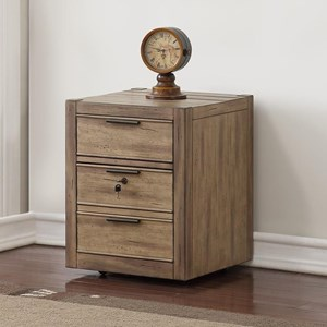 Contemporary Rolling File Cabinet with Locking Drawer
