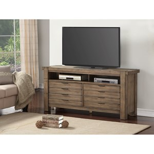 "Contemporary 63"" TV Console with 2 Large Drawers and Wire Access Holes"