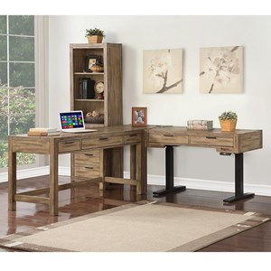 Contemporary 3 Pc L-Shaped Desk with a Power Standing Desk