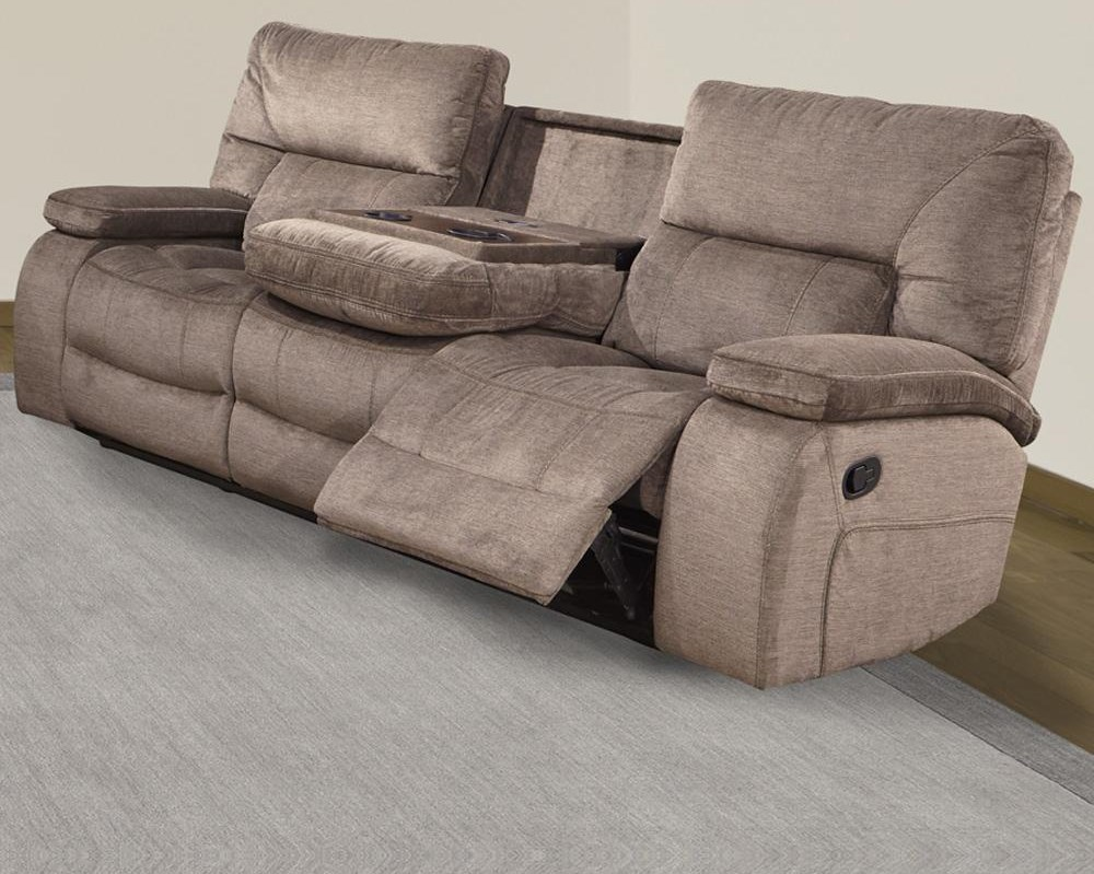 chapman Dual reclining sofa with drop down table by Parker House at Johnny Janosik