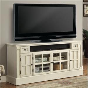 "62"" TV Console with Power Center and Four Paneled Doors"