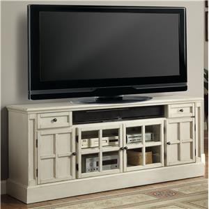 "72"" TV Console with Power Center and Four Paneled Doors"