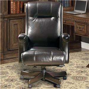 Traditional Leather Desk Chair with Track Arms