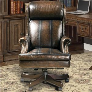 Traditional Leather Desk Chair with Rolled Panel Arms