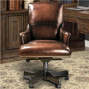 Traditional Leather Desk Chair with Nailhead Trim