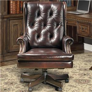 Traditional Leather Desk Chair with Tufting and Nailhead Trim