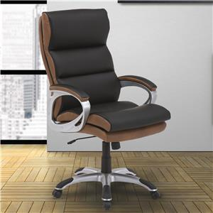 Contemporary Desk Chair with Split Back and Chrome Base