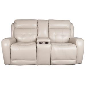 Modern Leather Match Power Loveseat with Power Headrest and USB Ports