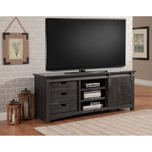 Transitional 76 Inch TV Console with Sliding Door