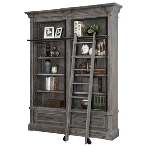 Relaxed Vintage 2 Piece Museum Bookcase Set with Ladder