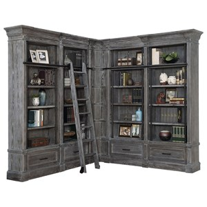 Relaxed Vintage 6 Piece Museum Corner Bookcase Unit with Ladder
