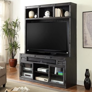 "63"" TV Console and Hutch with Power Center and Open Shelving"
