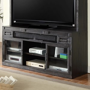 "63"" TV Console with Power Center and Glass Doors"