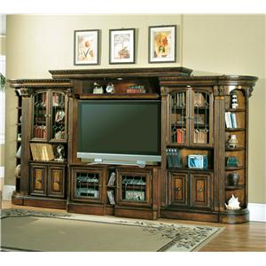 Entertainment Center with Glass Door Bookcases