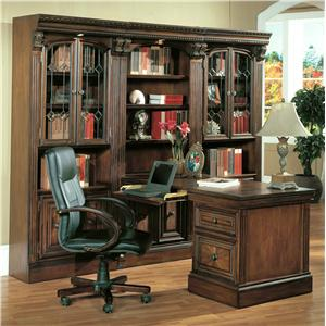 Small Peninsula Wall Unit Desk with Laptop Plug-In Ports and 2 Drop-Front Keyboard Drawers
