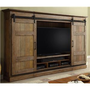 4pc Entertainment Wall with Sliding Doors