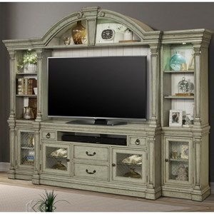 Relaxed Vintage 4-Piece Entertainment Wall with Power Center and Touch Lighting