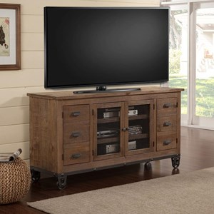 Industrial 63 in. TV Console with Wheels