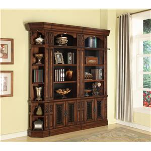 3 Piece Library Wall Open Top Bookcase with Outside Corner