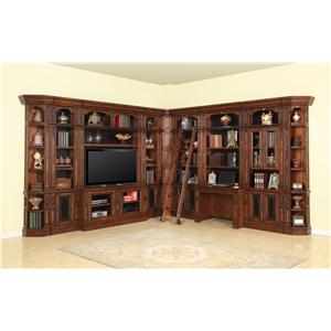 Library Wall with Entertainment Unit and Built-In Desk
