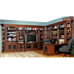 Full Wall Library with TV Console, Bar Base and Peninsula Desk