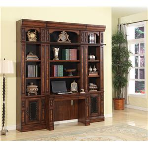 4 Piece Library Desk and Open Bookcase