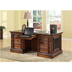 Double Pedestal Executive Desk with 2 File Drawers and Drop Face Pencil Drawer