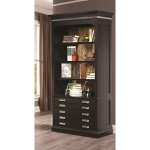 "Transitional 40"" Open Bookcase with 4 Shelves and Touch Lighting"