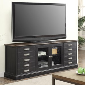 """Transitional 76"""" TV Console with 10 Drawers"""