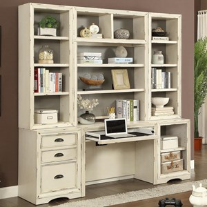 6 Piece Home Office Wall with Hutch and File Storage